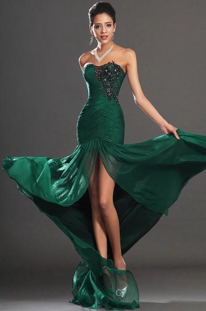 Dress Emerald Green Prom Dress Formal Dress Slit Dress Wheretoget