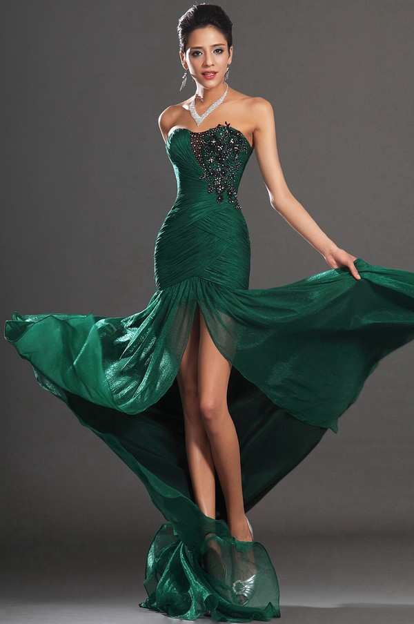 Dress: emerald green, prom dress, formal dress, slit dress ...