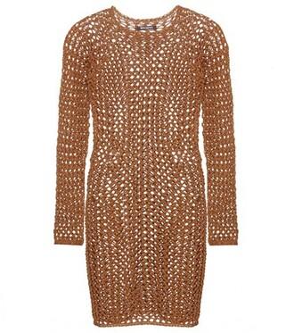dress mini dress mini knit cotton crochet brown