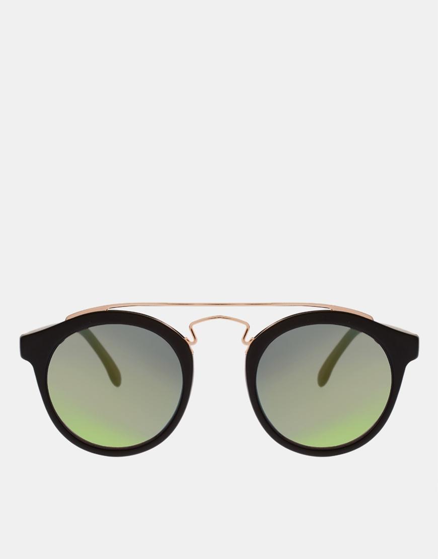 Asos round sunglasses with metal bridge detail and mirrored lens at asos.com