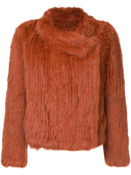 jacket fur women yellow orange