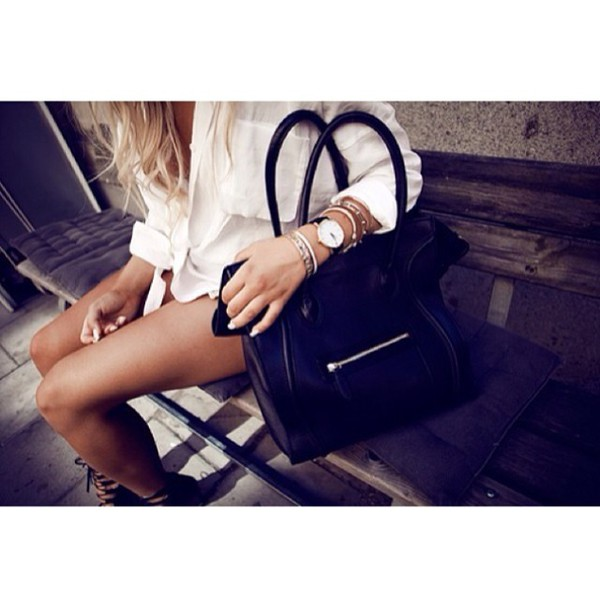 bag blouse black white elegant