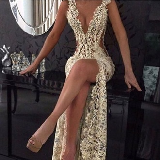 dress gold sequins gown sexy v-neck dress