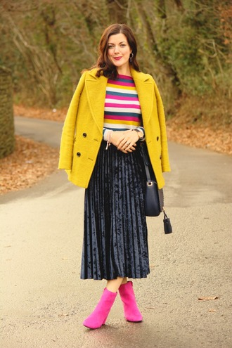 rachelthehat blogger skirt shoes sweater jacket bag yellow coat winter outfits ankle boots midi skirt pleated skirt multicolor striped sweater