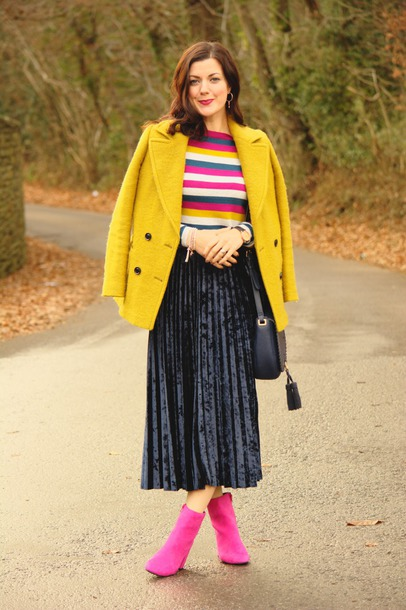 f8453b5dd6 rachelthehat blogger skirt shoes sweater jacket bag yellow coat winter  outfits ankle boots midi skirt pleated