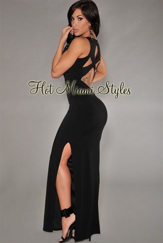 Black Cut-Out Back Padded Maxi Dress