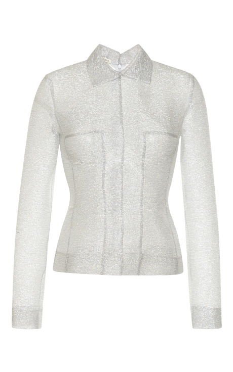 Silver sparkles long sleeve tallulah top with collar by emilia wickstead