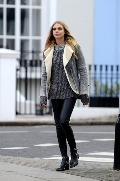 jacket leather waterfall leather waterfall jacket waterfall jacket grey fur sweater cara delevingne shoes coat fall outfits winter outfits