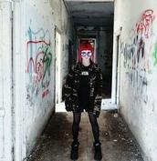 jacket,lilly meraviglia,adevismette,emo,grunge,military style,harajuku,fishnet tights,buffalo,platform shoes,graffiti,punk goth,pop punk,shoes,t-shirt