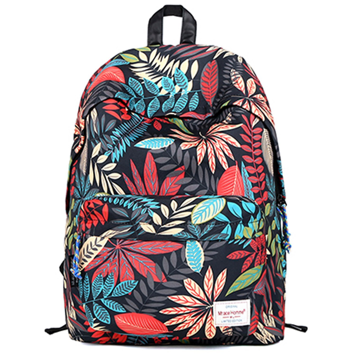 Amazon.com: EcoCity Fashion School Laptop Backpacks Book Bags (Floral-Black): Clothing