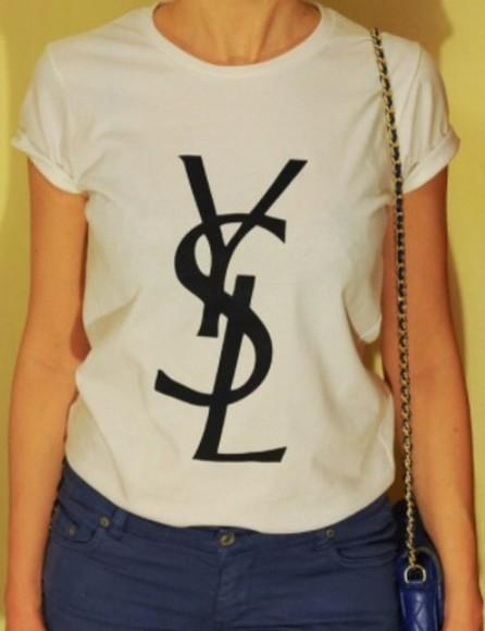 ysl ysl shirt shirt t-shirt vogue ysl t shirt