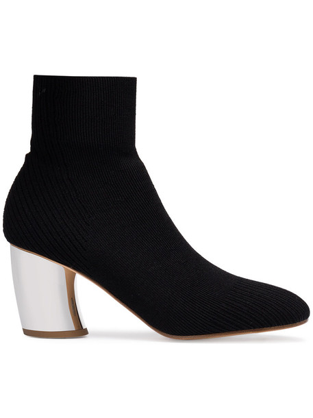 heel boot women leather cotton black knit shoes