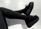 shoes,black,platform shoes,sneakers,leg warmers,legs,all black everything,suede,suede shoes,high,plateau shoes,want them,noir,grunge,shooes,black shoes,creepers,grunge shoes,tumblr,laces