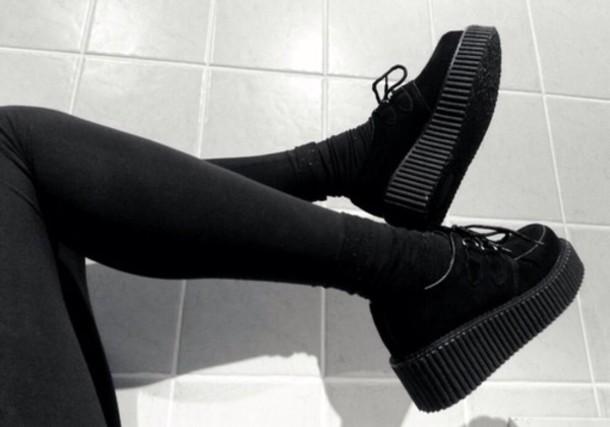 Shoes Black Platform Shoes Sneakers Wheretoget