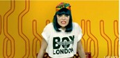 jessie j,white t-shirt,boy london,eagle,hair accessory,t-shirt