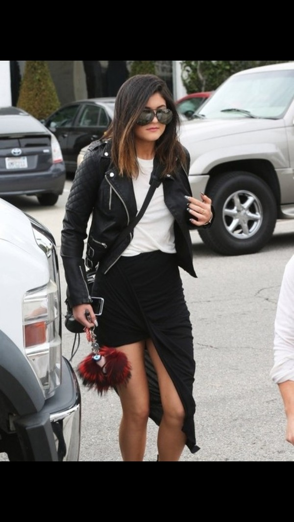 skirt kylie jenner black jacket