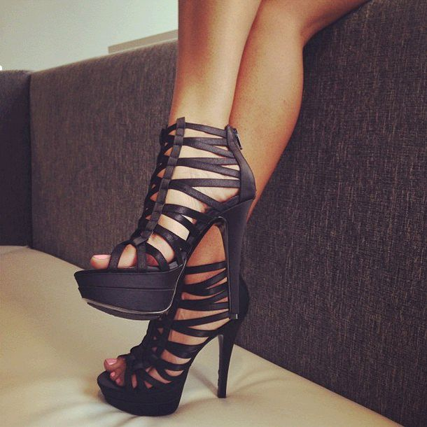 Shoes: black, pumps, party shoes, high, zip, high heels, high ...