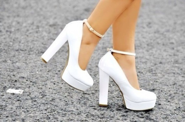 Shoes: white heels straps high heels thick heel strappy heels