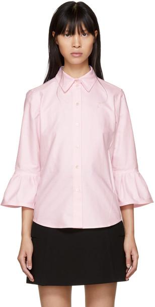 shirt ruffle pink top