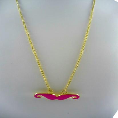 Women's fashion online pink moustache necklace
