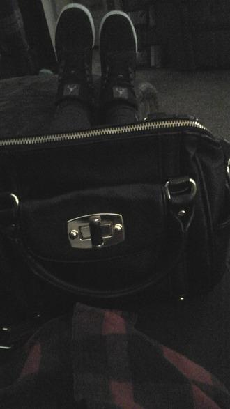 bag black bag jordan's sneakers plaid jacket leggings
