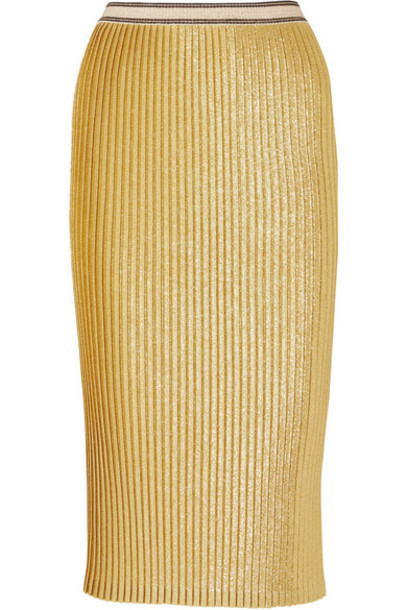 By Malene Birger skirt midi skirt midi gold knit