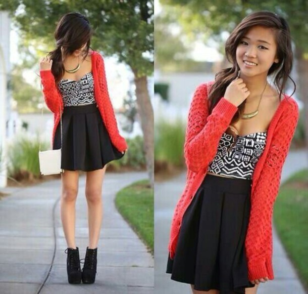 Jacket: red cardigan, tribal crop top, black skirt, skirt, shirt ...