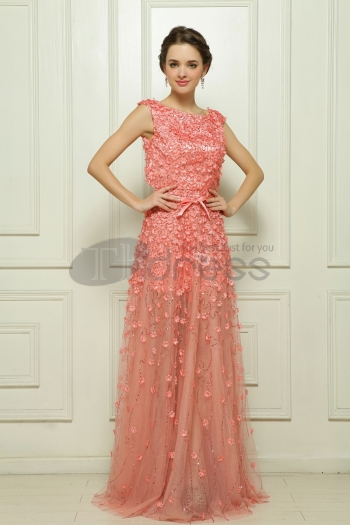 Of Malay color Dingke, deep pink organza evening dress - $361.73