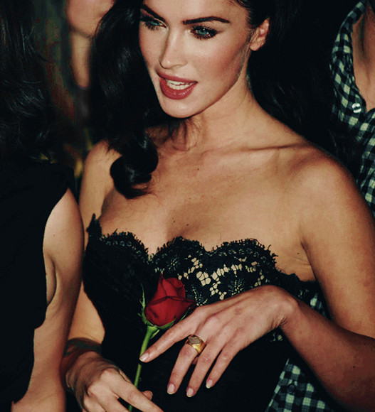 dress megan fox black lace