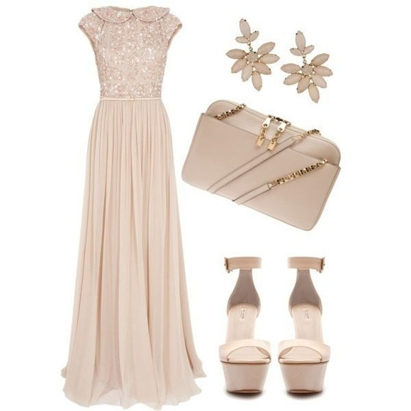 dress beige dress maxi dress beautiful dress