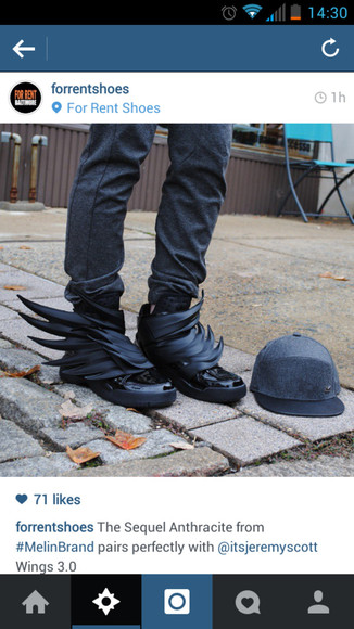 mens shoes sneakers winged high top ninja goth