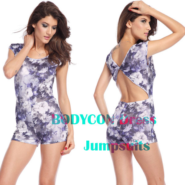 S M L New 2014 Pul Size Club Party Women Shorts Pockets Sexy Backless Bodycon Print Hot Bandage Jumpsuit Free shipping b40363 | Amazing Shoes UK