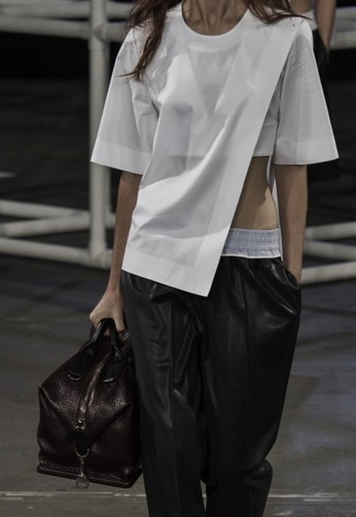 tumblr runway fashion white blouse grey white top bags handbags pants white blouse