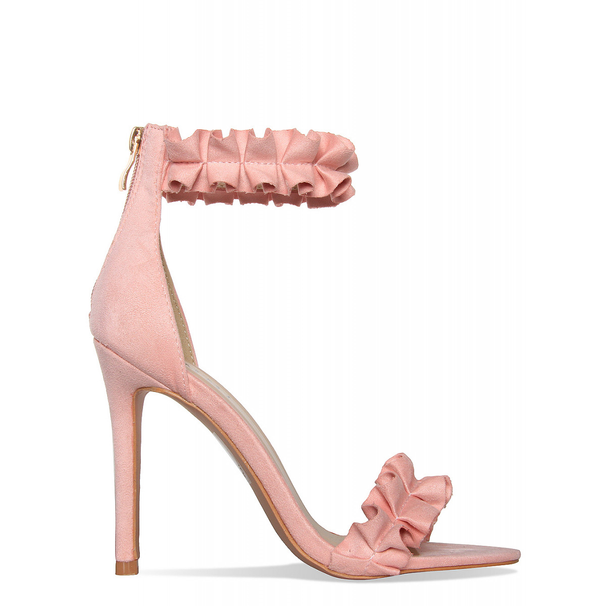 Pink Suede Ruffle Heels : Simmi Shoes