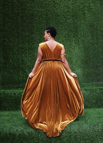 dress velvet dress plus size maxi dress plus size dress curvy plus size velvet yellow yellow dress maxi dress long dress earrings jewels jewelry accessories accessory plus size prom dress