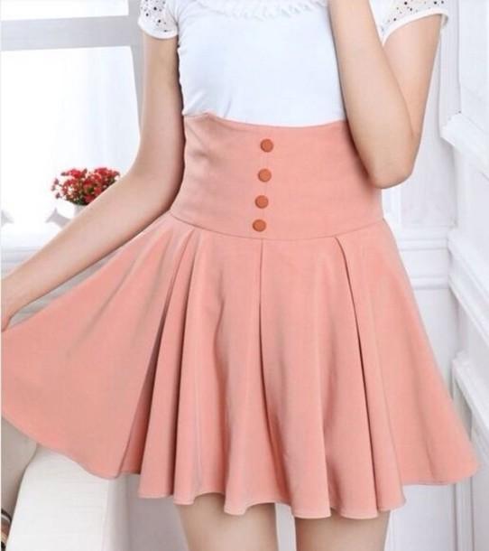 skirt shirt pink high waisted buttons gloves