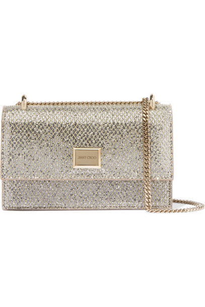 Jimmy Choo - Leni Glittered Leather Shoulder Bag - Silver
