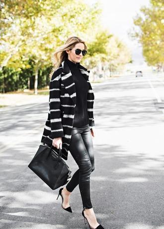 ivory lane blogger coat sweater pants shoes bag sunglasses black leather pants leather pants black pants printed coat black bag turtleneck turtleneck sweater