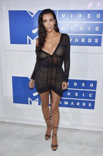 dress sandals bodycon dress sexy dress black dress plunge v neck kim kardashian long sleeve dress vma kardashians see through dress shoes