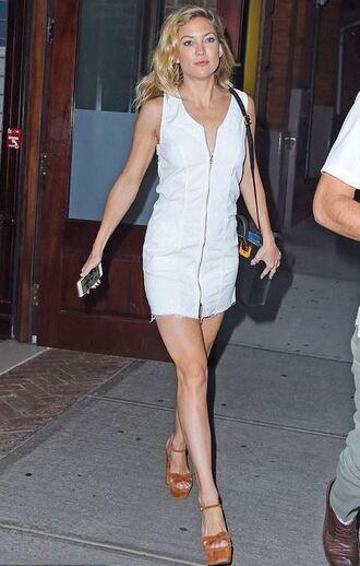 dress white dress mini dress summer dress kate hudson wedges sandals platform sandals zip zip dress