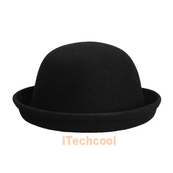 I#2K Vintage Women Men Woolen Roll Brim Bowler Hats Unisex Billycock Fashion-in Fedoras from Apparel & Accessories on Aliexpress.com