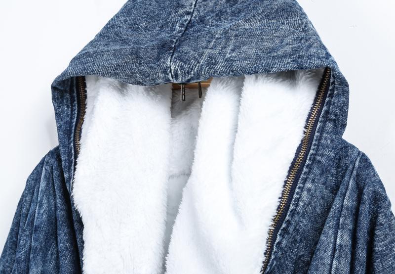 Blue Hooded Long Sleeve Pockets Denim Coat - Sheinside.com