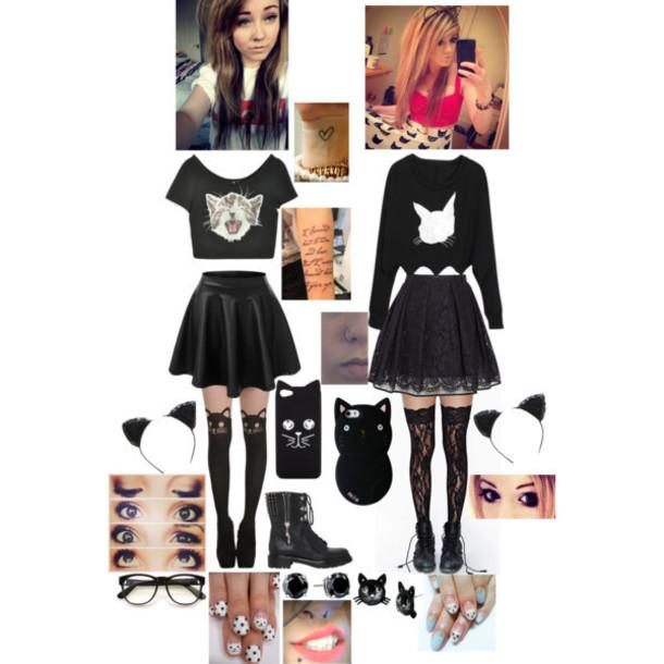 skirt lace skirt cat shirt bunny shirt cat leggings cute sweaters cute leggings love beautiful want them t-shirt crop tops lace leggings leggings cute top crop tops love skirts and tops