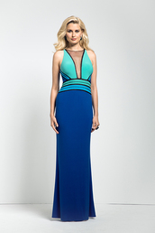 dress,blue dress,colorblock,colorful,plunge v neck,prom dress,prom,prom gown,full length,maxi dress,aqua,sexy,sexy dress,red carpet dress,wedding clothes