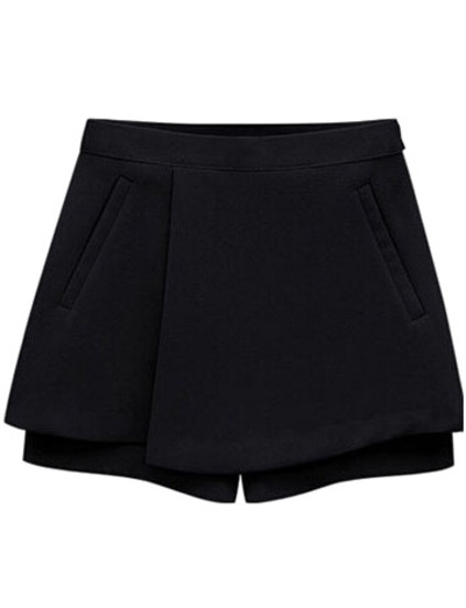 Pockets Black Skirt Shorts