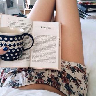 comfort comfortable lazy lazy day shorts floral shorts pajamas lazy day mug