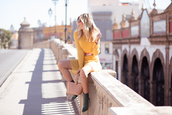 mi aventura con la moda,blogger,dress,shoes,bag,t-shirt,jewels,scarf,fall outfits,yellow dress,pink bag,ankle boots,long sleeve dress