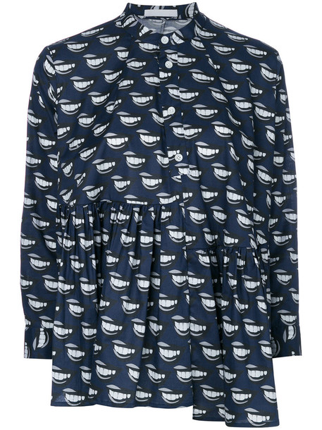 Peter Jensen shirt women spandex cotton print blue lip print top