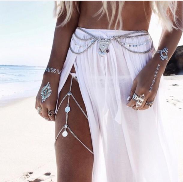 skirt boho boho shirt boho chic belt white skirt jewelry slit slit maxi skirt
