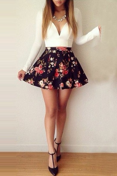 necklace top white cute outfit outfit idea heels skirt flower print
